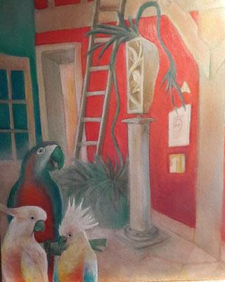 © Chantal Coutu, Birds, 2020, Mixmedia auf Nessel, 60 x 80 cm
