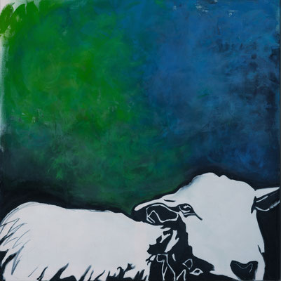 Dreaming of Green and Blue Blue Sky, 100 x 100 cm, 2018