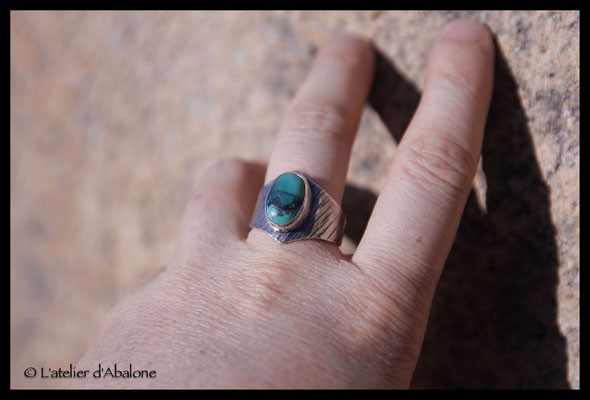 62.Bague Turquoise ovale trait, Argent 925,  58 euros