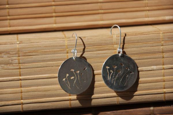 36.Boucle d'oreille Coquelicot AR , Argent 925, 43 euros