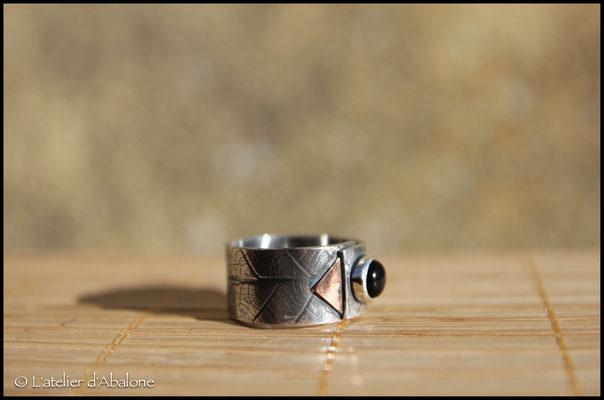 16.Bague Onix triangle cuivre, Argent 925, 58 euros