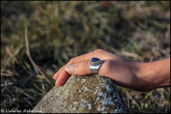 98.Bague Lapis Lazuli goutte couronne, Argent 925, 59 euros