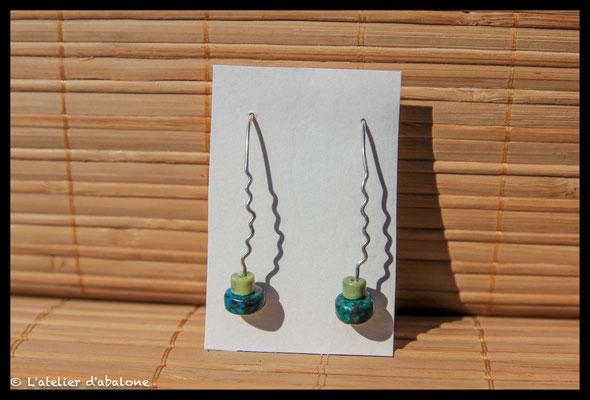 22.Boucle d'oreille serpentine chrysocolle, Argent 925, 25 euros