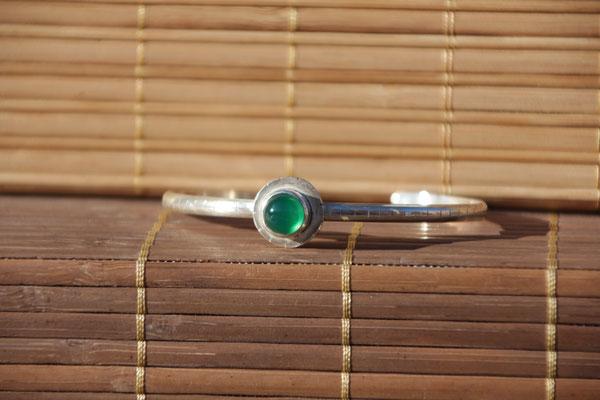 8.Bracelet Agate verte ronde, Argent 925, 57 euros