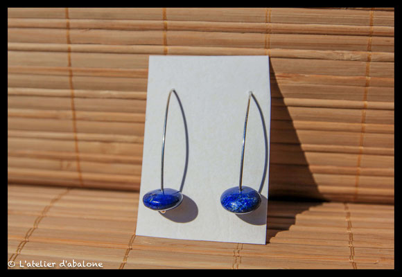 21.Boucle d'oreille perle Lapis, Argent 925, 25 euros