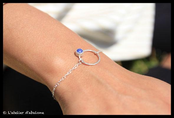 3.Bracelet chaine rond et sodalite,  Argent massif, 38 euros