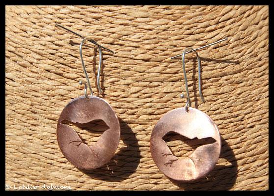 59.Boucle d'oreille oiseaux Cuivre, Argent 925, 34 euros