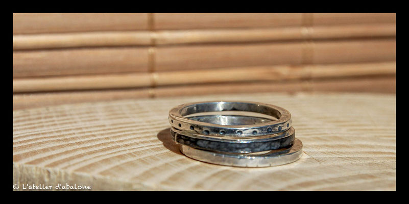 70. Bague empilable x3 oxy ,  Argent 925, 54 euros