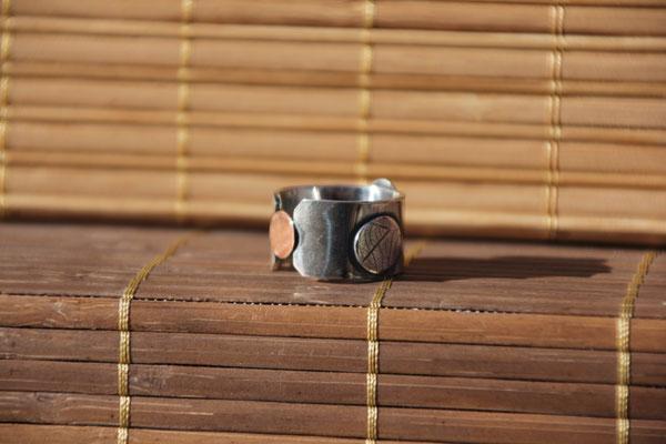 13.Bague Pastille t.feuille, Argent 925, Cuivre pur, 60 euros