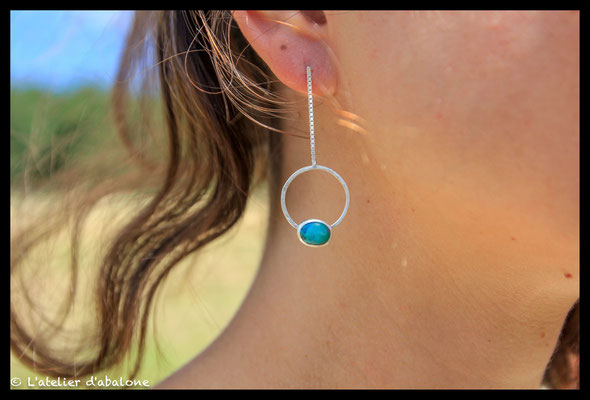 25. Boucle d'oreille Turquoise chaine, Argent massif, 50 euros.