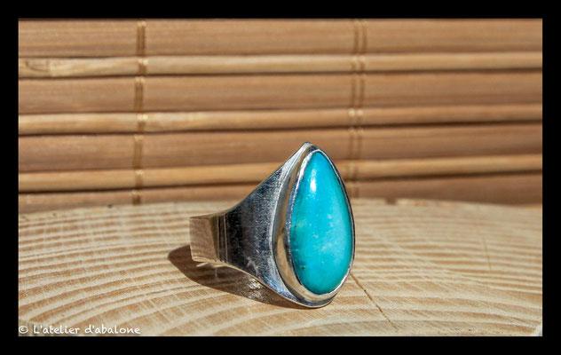 167. Bague Turquoise goutte , Argent massif, 60 euros