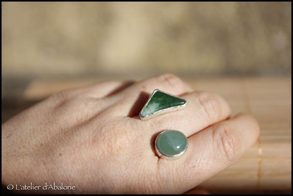 6.Bague Twin Jade/Aventurine, Argent 925, 57 euros
