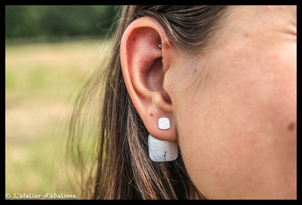 86. Boucle d'oreille ear jacket carré, Argent massif, 43 euros.