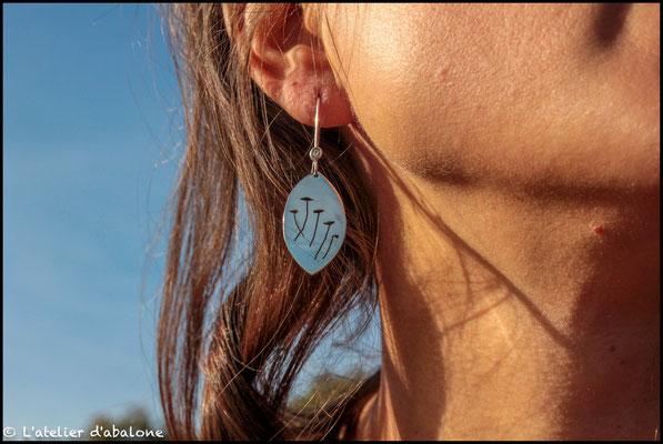 48.Boucle d'oreille Coquelicot, Argent 925, 41 euros