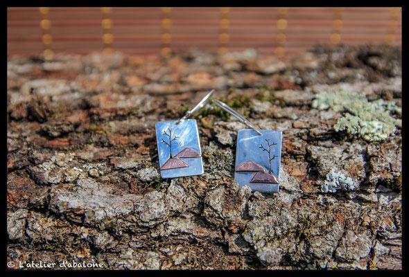 82. Boucle d'oreille paysage colline, Argent 925, 47 euros