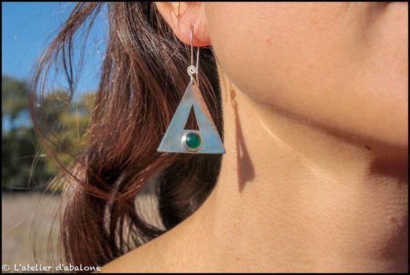 12.Boucle d'oreille Agate verte triangle, Argent 925, 51 euros