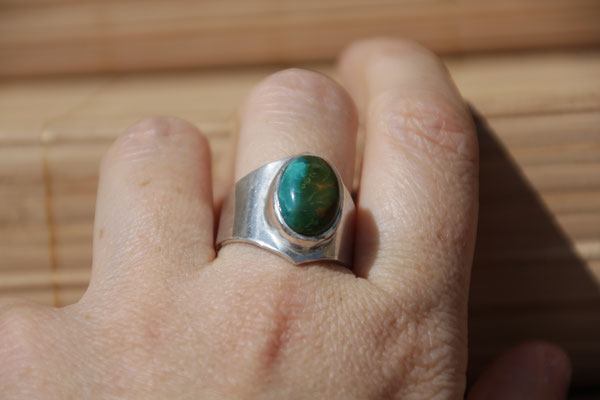 78.Bague Turquoise ovale, Argent 925, 56 euros