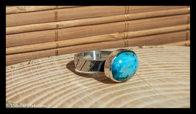 149. Bague Turquoise ovale , Argent massif, 59 euros