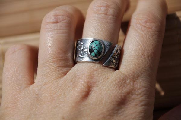 81.Bague Turquoise reticulé, Argent 925, 64 euros