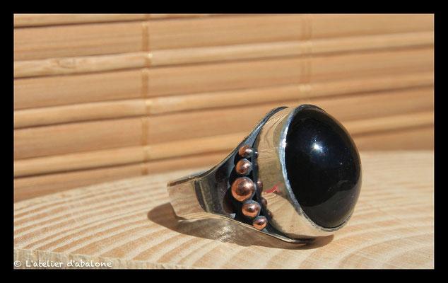164. Bague Obsidienne oeil celeste , Argent massif, 61 euros
