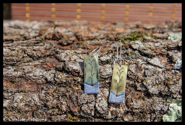81.Boucle d'oreille laiton branche argent , Argent 925, 37 euros