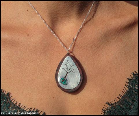 8.Pendentif Turquoise et bois de Cocobolo, Argent 925, 57 euros