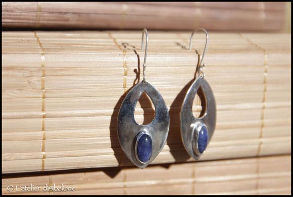 3.Boucle d'oreille Sodalite ovale, Argent 925, 57 euros