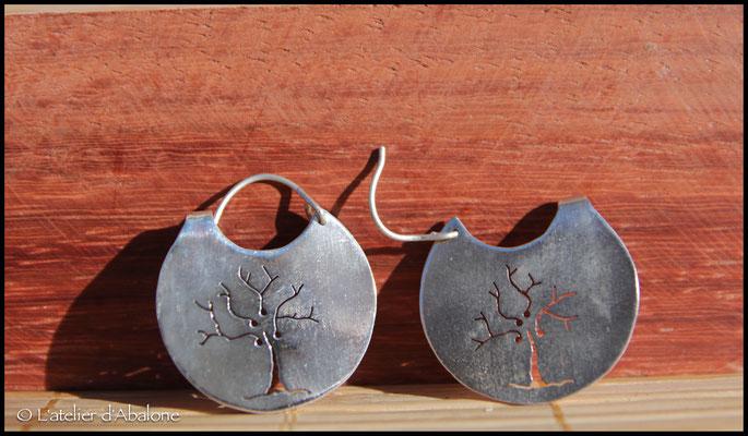 13.Boucle d'oreille créole arbre, Argent 925, 57 euros