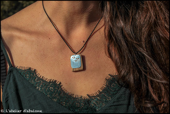 20.Pendentif Coeur et bois de Zebrano, Argent 925, 42 euros