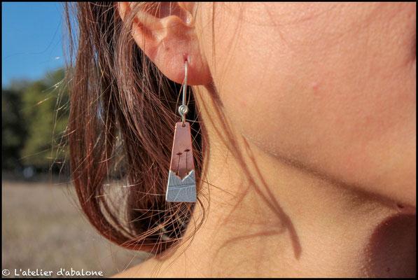 46.Boucle d'oreille CU Coquelicot bas AR, Argent 925, 34 euros