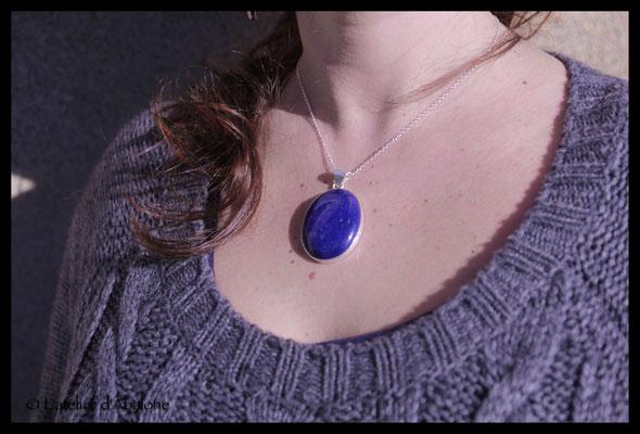 11.Pendentif Lapis Lazuli, Argent 925, 57 euros
