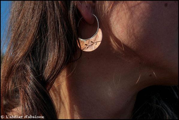 50.Boucle d'oreille créole branche, Argent 925, 36 euros