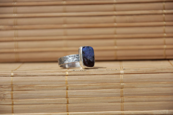 90.Bague Opale boulder rectangle, Argent 925, 64 euros