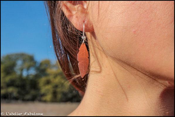 45.Boucle d'oreille feuille cuivre, Argent 925, 34 euros