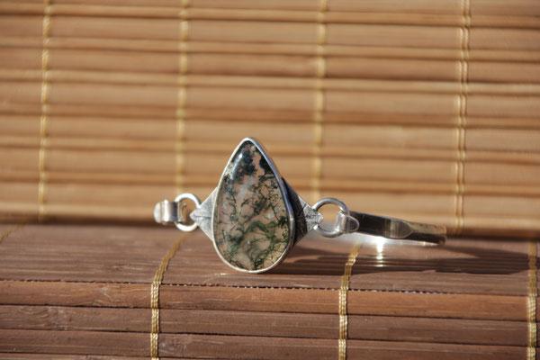 6.Bracelet Agate mousse goutte, Argent 925, 68 euros
