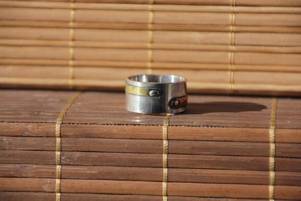 12.Bague Steampunk CU laiton, Argent 925, Cuivre pur, 64 euros