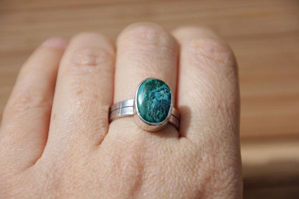 91.Bague Chrysocolle ovale, Argent 925, 64 euros