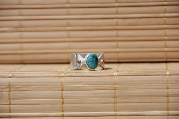 75.Bague Turquoise ovale point cuivre, Argent 925, 57 euros