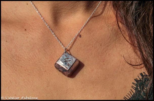 12.Pendentif feuille cuivre et bois de rose, Argent 925, 40 euros