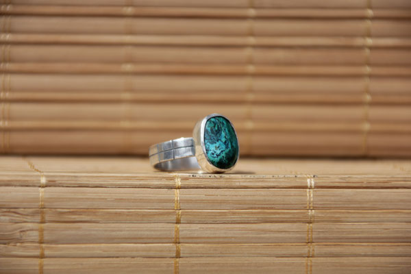 91.Bague Chrysocolle ovale, Argent 925, 53 euros