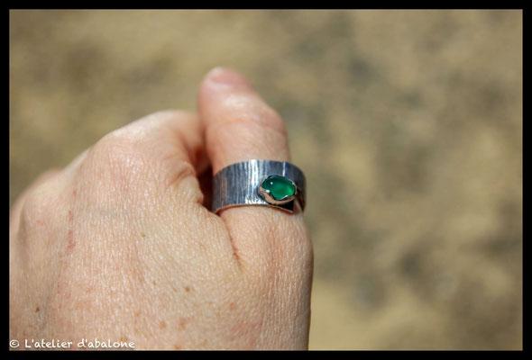 155.Bague Agate verte superpose, Argent massif, 63 euros