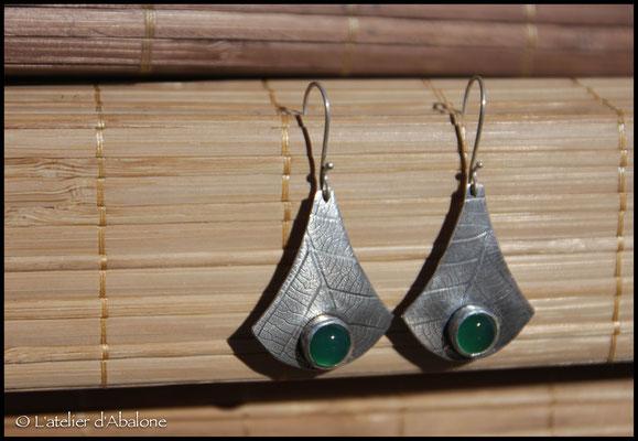 1.Boucle d'oreille Agate verte t.feuille, Argent 925, 55 euros