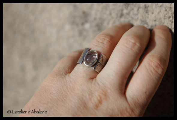 66.Bague quartz tourmaline t.feuille, Argent 925, 55 euros
