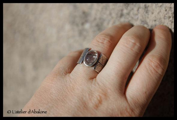 66.Bague quartz tourmaline t.feuille, Argent 925, 64 euros