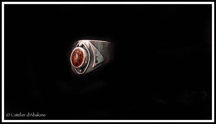 24.Bague Ambre ovale réglable, Argent 925, 69 euros