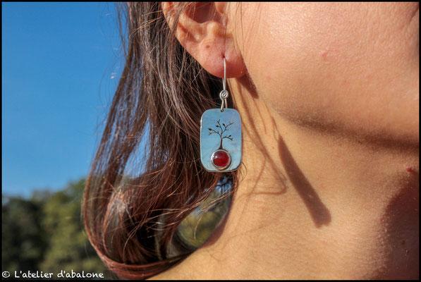 14.Boucle d'oreille Cornaline Arbre, Argent 925, 52 euros