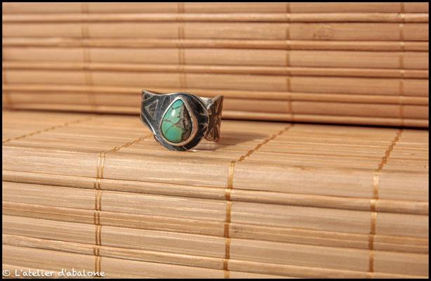 114.Bague Turquoise goutte , Argent 925, 56 euros