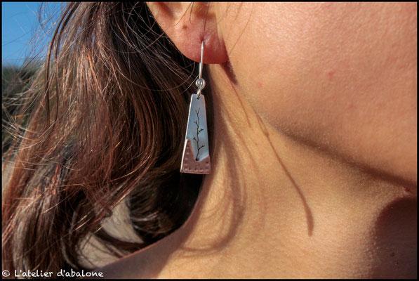 44.Boucle d'oreille AR branche bas CU point, Argent 925, 39 euros