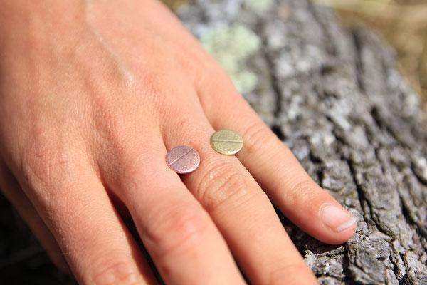 3.Bague pastille cuivre argent, Argent massif, 35 euros