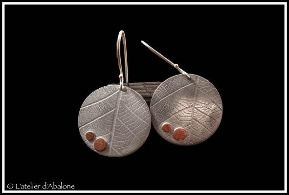 10.Boucle d'oreille ronde t.feuille, Argent 925, 44 euros